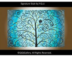 """The Wedding Day Blue Abstract Landscape Painting Original Palette KNIFE Birds Tree Wall Decor """"The Wedding Day"""" by QiQiGallery, $325.00"""