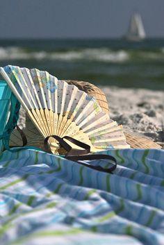 """""""The Beach"""" #BonnieBlanton #photography #beach #ocean #fan #sailboat"""