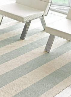 Yacht Stripe Ocean Cotton Woven Beach House Rug by Cottage & Bungalow
