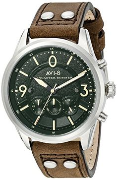 785cb0303af Amazon.com  AVI-8 Men s AV-4024-06 Lancaster Bomber Stainless Steel Watch  with Brown Genuine Leather Band  Watches