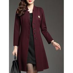 Buy Single Breasted Slim A Line Coat, sale ends soon. Be inspired: discover affordable quality shopping on Gearbest Mobile! Hijab Fashion, Fashion Dresses, Coat Sale, Fashion Seasons, Womens Fashion Online, Coat Dress, Coats For Women, Mantel, Single Breasted