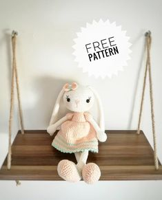 Crochet Bunny Pattern, Crochet Bear, Crochet Animals, Crochet Patterns, Beautiful Rabbit, My Little Baby, Amigurumi Toys, Knitting Projects, Free Pattern