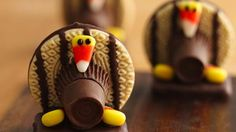 Cute Turkey Cookies. Use chocolate, shortbread cookies and graham crackers to make these creative cookies – a perfect Thanksgiving dessert.