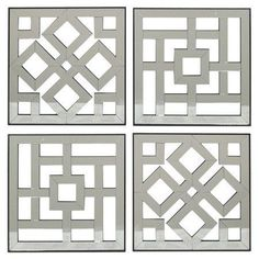 Set of 4 wood wall panels with lattice details. Product: wall art setConstruction Material: Wood and mirrored glassColor: SilverDimensions: 16 H x 16 W x D each Black Wall Mirror, Rustic Wall Mirrors, Mirror Wall Art, Round Wall Mirror, Diy Mirror, Mirror Vanity, Window Wall, Long Mirror, Mirror Collage