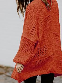 Style : Casual, Comfy Sleeve Length : Long Sleeve Silhouette: Loose Pattern Type : Solid Material : Knitting Elevate your cozy-chic style game with a chunky knit cardigan featuring an oversized, drop-shoulder silhouette. Plus Size Sweaters, Casual Sweaters, Cardigans, Trendy Fall Outfits, Collared Sweatshirt, Chunky Knit Cardigan, Casual Tops For Women, Color Block Sweater, Long Sleeve Sweater