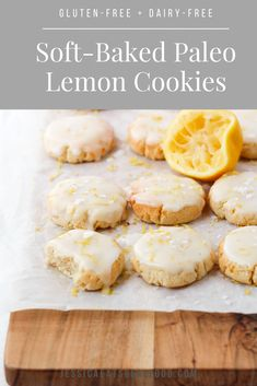 These Soft-Baked Paleo Lemon Cookies are everything you could want in a dessert. They're sweet + zingy, satisfyingly soft with the perfect crunch. They comes together so easily, with very few gluten-free and grain-free ingredients, but they're sure to be adored by the entire family! #CookingTips Paleo Dessert, Dessert Sans Gluten, Bon Dessert, Gluten Free Desserts, Dairy Free Recipes, Healthy Desserts, Real Food Recipes, Baking Recipes, Dessert Recipes