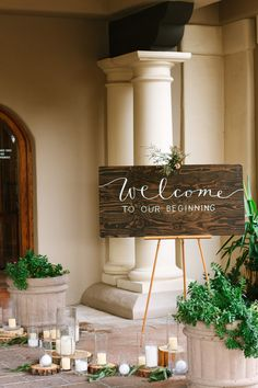 """""""I knew the moment I pulled up and saw the beautiful walkway and large wooden doors to the event space that it was going to create my vision,"""" Tiffany said of the space.  Venue: Val Vista Lakes Clubhouse"""