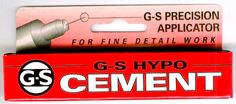 G-S Hypo Cement Glue 1/3 fl. oz. Made in the USA, Dries Clear, Stays Clear - Will Not Bond Fingers