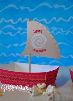 Moana polinesiano vassoi di cibo snack in barca e vela toppers