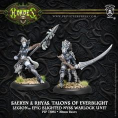 The twins Saeryn and Rhyas are two of Everblight's most deadly warlocks, and their bond has grown such that they are far more dangerous together than apart.#HORDES #Legion #Everblight #PrivateerPress #warlock #miniatures #wargames  #unit