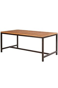 Vintage Elm and Metal Dining Table