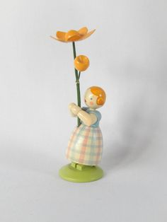 Erzgebirge figurine girl with large flower by vintagebyclaudine