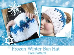 Free messy bun crochet pattern with video tutorial! Can be made as a ponytail hat or closed up as a beanie.