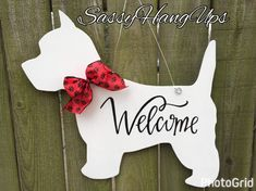 Westie Dog Door Hanger West Highland Terrier by SassyHangUps West Highland Terrier, Highlands Terrier, Westies, Chihuahuas, Gravure Laser, Dachshund Gifts, Deco Originale, Weenie Dogs, West Highland White