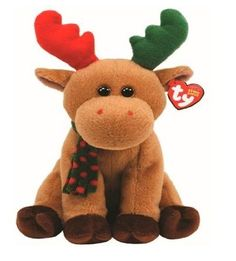 Ty Beanie Babies Harold - Moose: I'm the most colorful moose you'll ever see My red and green horns are unique to me And a matching scarf is the finishing touch To a festive look I love so much! Ty Animals, Plush Animals, Stuffed Animals, Stuffed Toys, Kids Toy Store, New Kids Toys, Beanie Buddies, Ty Beanie Boos, Ty Babies