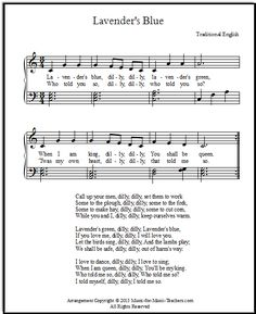 Cinderella song lyrics and sheet music for the Lavender's Blue lullaby, in four keys for beginner piano, FREE!  Give your students this easy to learn free piano music from the most recent of the Cinderella movies...