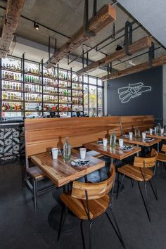 Bandidos, A Sleek Mexican Cantina in the Castro - Eater SF. Another shot of the high back bench seating I built. Industrial Home Design, Industrial Bedroom, Industrial House, Industrial Interiors, Kitchen Industrial, Industrial Furniture, Industrial Wallpaper, Industrial Stairs, Industrial Closet