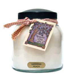 Gardenia Peach Homespun Ribbon 34-Oz. Papa Jar Candle