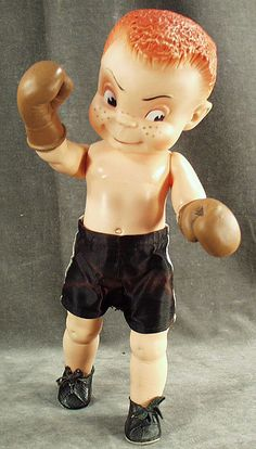 Vintage Red Headed Boy Doll with Boxing Gloves