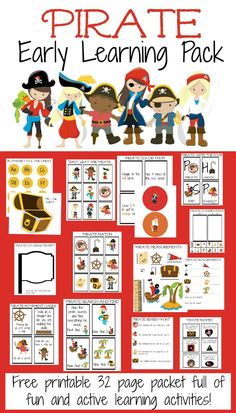 Free 32 Page printable pirate early learning pack. Full of fun and active learning activities!