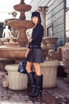 #@Aimee Song dishes on her favorite trends of the season  leather skirt #2dayslook #leather style #stylefashion  www.2dayslook.com