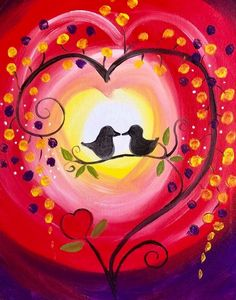 Step by step to your own Masterpiece with Paint Along Paint Party, Love Birds, Painting, Painting Art, Paintings, Painted Canvas, Drawings