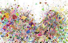 Jen Stark Double Rainbow Rainbow, 2011, Felt-tip pen on paper, 26 x 40 in.