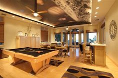 Contemporary game room with space wall mural ceiling feature