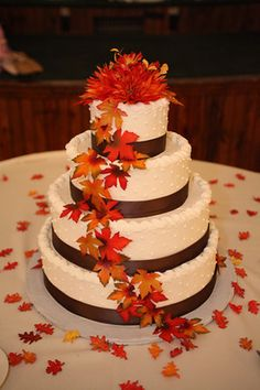 Lovely Fall Wedding Cake (needs my color purple, of course!)