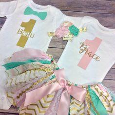 Personalized Birthday Twin Outfits for Boy and Girl by CamiAndJo