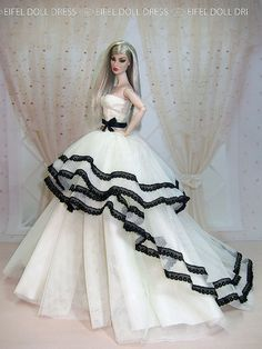 by eifel doll dress Barbie Gowns, Barbie Dress, Barbie Clothes, Barbie Outfits, Doll Dresses, Barbie Doll, Fashion Royalty Dolls, Fashion Dolls, Barbie Bridal