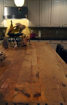 reclaimed wood for an island countertop