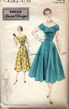 Vintage 1954 Wrap Draped Bodice Full Skirt  Dress.. by sydcam123, $40.00