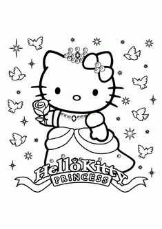 Coloring Page Hello Kitty Princess Pages New In Painting Free Kids