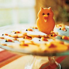 Owl Cookies with Candy-Corn Beaks