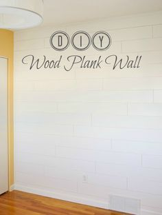 DIY Wood Plank Wall - I LOOKED AT THIS - EASY TUTORIAL. WILL DO IN MY BATHROOM.LOVE IT. SIMPLE.