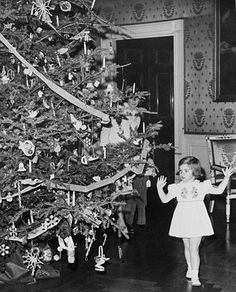 "Caroline Kennedy takes a closer look at the official 1961 White House Christmas tree in the Blue Room. This was the first tree to have an official theme picked by the first lady; Jacqueline Kennedy decorated it with toys, birds, and angels inspired by ""The Nutcracker Suite."