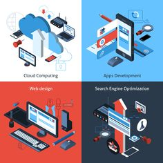 Buy Isometric Computing Set by macrovector on GraphicRiver. Computer and web design concept set with cloud computing apps development search engine optimization isometric icons . Web Design, Flyer Design, Logo Design, Digital Marketing Services, Seo Services, Design Development, Software Development, Computer Vector, Seo Software