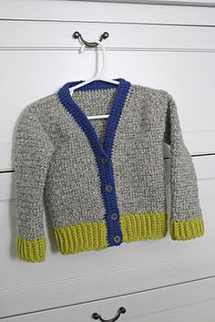 Free crochet pattern for a boys junior varsity sweater you could little boy crocheted cardigan fandeluxe Images