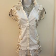 Brand new beautiful work top. With cute sleeves firm unless bundled. Please no trades, modeling or other forms of payment. Thank you for understanding.  STRETCH MATERIAL. New York & Company Tops Blouses