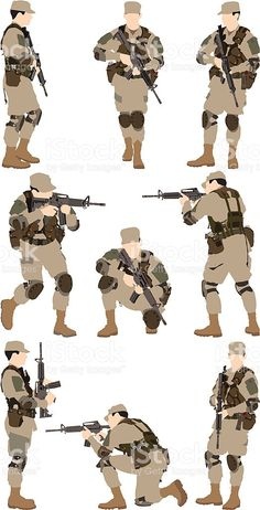 Wolf Brigade Human Poses Reference, Pose Reference Photo, Animation Reference, Game Character Design, Character Art, Special Forces Gear, Military Drawings, Military Gear, Firearms