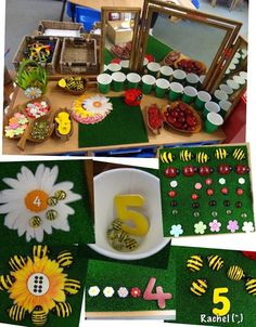 """Counting, numeral recognition, sorting and patterning with garden-inspired Maths activities - from Rachel ("""",)"""