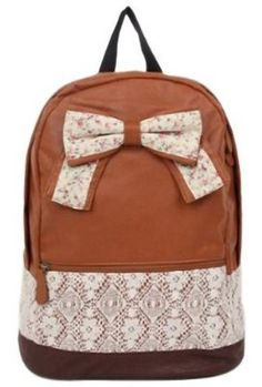Eforstore Cute Vintage  Canvas Floral Bowknot Lace Rucksack Backpack Handbag Schoolbag Bookbag for College School Outdoor Travel for Teen Girls Teens Students Women Ladies (Brown) So adorable