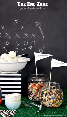 Game day ice cream bar for a football party or super bowl party.