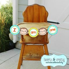 Celebrate the birthday of your curious little monkey with this Curious George inspired party banner! Designed with polka dots and chevrons in
