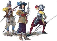 Western European infantry: musketeer, officer & pikemen, first half of the XVIII century
