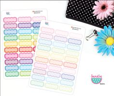 Scalloped boxes Stickers, Planner Stickers, Erin Condren, Plum Paper, Limelife de SandiaStickers en Etsy
