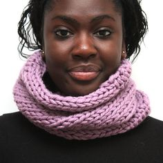 Lilac Wool Cowl- Radiant Orchid Chunky Knit Merino Wool Snood on Etsy, $51.72