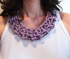 oversized statement handwaved rope necklace in by mademeathens
