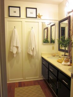 weekend Bath redo with wall trim, easy but so effective. click to see the before pictures I love this
